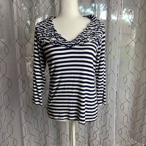 Cable & Gauge Navy and White Stripe Top Large